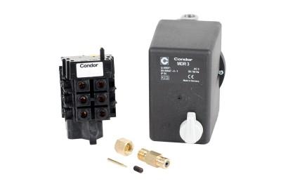 Condor Druckschalter MDR 3/11 bar EA + Entlastungsventil und Motorschutz 10-16 A