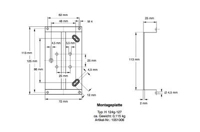 TIVAL Montageplatte H 124g-127 1051006