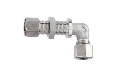 Winkel-Schottverschraubung, Edelstahl, Rohr-Ø 12 mm, 315 bar 112453
