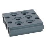 Mehrfach Grundplatte für Ventile G 1/4, Serie 514-517, 2 Ventilpos. RI-520.02-14